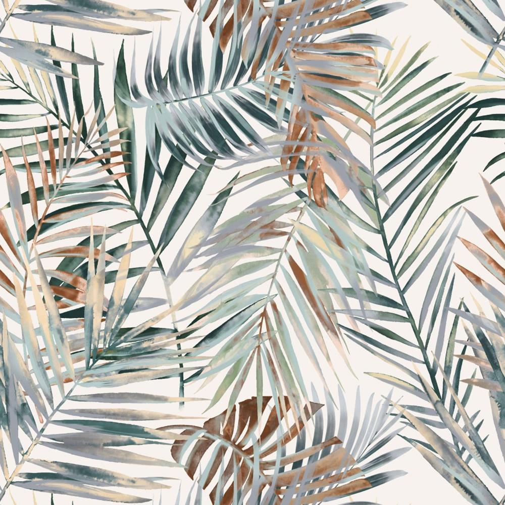 Tkanina Zasłonowa W Zielony Wzór W Duże Liście Palmy